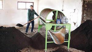 150 ton solucan gübresi üretiyor