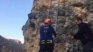 Tırmandığı kayalıktamahsur kalan genci AFAD ekibi kurtardı
