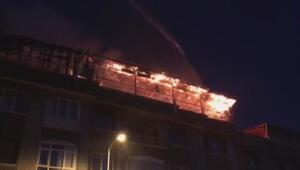 Ankarada 6 katlı bir apartmanın teras katında yangın çıktı
