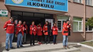 Gönen'de okullarda deprem tatbikatı