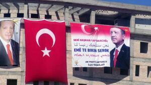 Mardinde Erdoğan için 4 dilde Seni başkan yaptıracağız pankartı