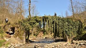 Defineciler tarihi kemer köprüye hasar verdi