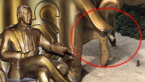 Özhan Canaydın'ın heykeline çirkin saldırı