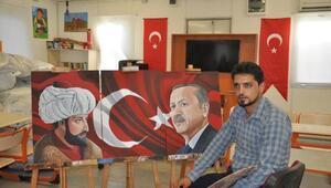 Suriyeli öğretmen, Fatih Sultan Mehmet ve Erdoğan tablosu yaptı