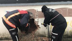 Duvar arasında sıkışan köpekler kurtarıldı