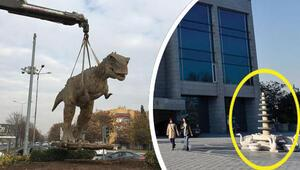 Dinozor heykelleri ve fıskiye neden kaldırıldı Başkan Tuna açıkladı...