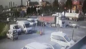 (güvenlik kamerası) Başakşehirde tanker kaydı; cadde savaş alanına döndü