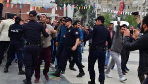Protestocu pazarcılarla polis arasında gerginlik