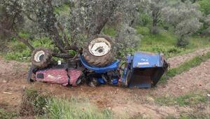 Traktör devrildi; sürücü öldü, eşi yaralandı