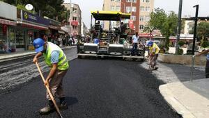Köşkte asfalt çalışması