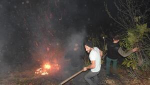 Çamlıhemşinde, yangını söndürmek için seferber oldular