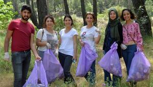MYO öğrencileri çöp topladı