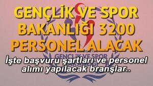 Gençlik ve Spor Bakanlığı 3200 personel alımı hangi alanlarda yapılacak İşte, şartları