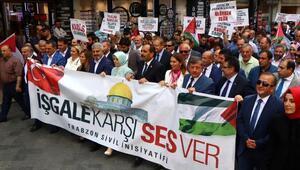 Trabzonda ABD ve İsraile tepki yürüyüşü