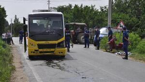 Halk otobüsü motosikletle çarpıştı: 1 ölü, 1 yaralı