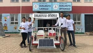 Köy çocuklarından güneş enerjili araba