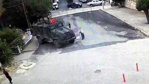 Zırhlı aracın, 85 yaşındaki kadına çarptığı kaza, güvenlik kamerasında