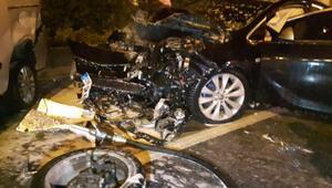 Bayrampaşada yanan otomobile TOMA ile müdahale