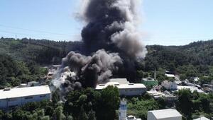 (Hava fotoğrafları) - Ayazağada fabrika yangını