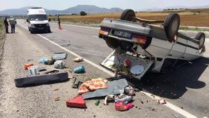 Takla atan otomobil ters döndü: 2si çocuk 6 yaralı