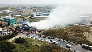 Havadan fotoğraflar // Hadımköyde fabrika yangını