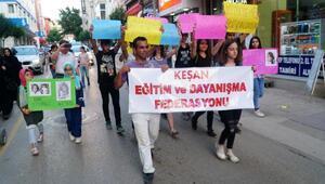 Edirnede, 15 kişi çocuk istismarına karşı eyleme yaptı