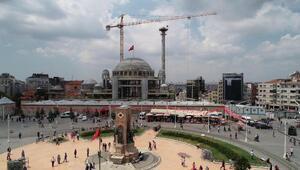 (Havadan fotoğraflarla) - Taksim Camiinde 61 metrelik ilk minare tamamlanmak üzere