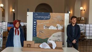 Üniversite öğrencilerinden geri dönüştürülmüş kağıtla dış cephe tasarımı