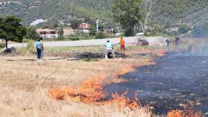 Gazipaşada sazlık yangını, yerleşim alanlarına ulaşmadan söndürüldü