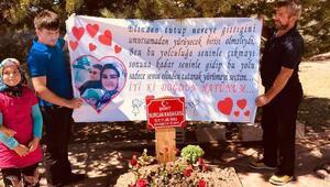 10 aylık oğluyla şehit olan eşinin doğum gününü, mezarı başında kutladı