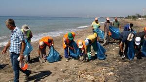 Caretta caretta yuvaladığı sahil temizlendi