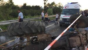 TIR traktörle çarpıştı: 2 ölü, 2 ağır yaralı