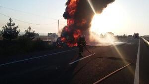 Şarampole devrilen akaryakıt tankeri, alev alev yandı