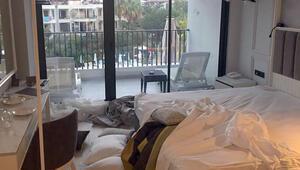 Otel odasını bu hale getirip kaçan iki turist havalimanında yakalandı