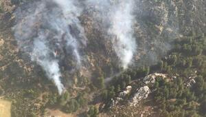 Manisada bozuk orman alanında yangın (1)