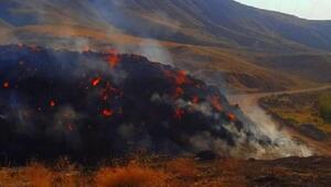 Yangında 4 bin balya saman küle döndü