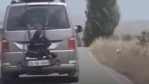 Minibüsün arkasına bağlı yolculuktasürücüye gözaltı