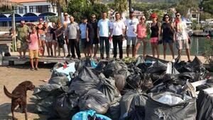 Sakin şehir unvanlı Akyakadan 2 ton çöp topladılar