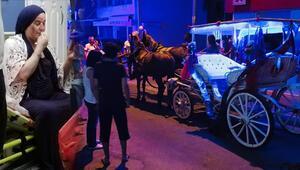 Alkollü faytoncunun ürken atı dehşet saçtı