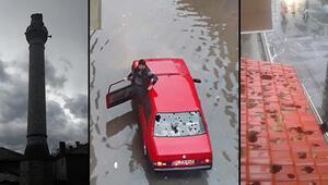 Ortalık savaş alanına döndü: 20 dakika yağdı, hayatı felç etti