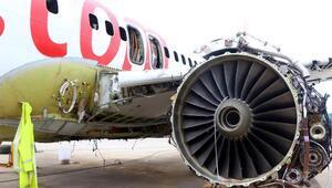 Trabzonda pistten çıkan uçakta söküm işlemi bitti