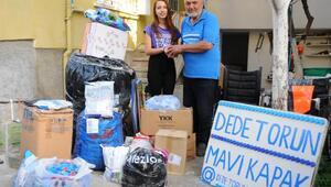 Dede torun 43 ton mavi kapak topladı, 137 tekerlekli sandalye aldı