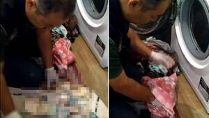 Çamaşır makinesi içinden çıktı Polisler bile şaşırdı
