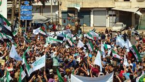 İdlib'de rejim protesto edildi