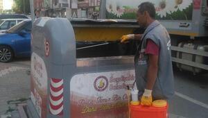 Seydişehirde çöp konteynerleri dezenfekte ediliyor