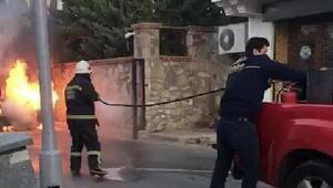 LPGli otomobil alev alev yandı