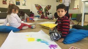 Çocuklar boyama etkinliğiyle eğlendi