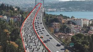 Yüzlerce motosikletli Şehitler Köprüsünden böyle geçti