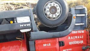 İtfaiye aracı kaza yaptı