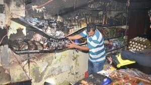 Adanada bakkal dükkanı yandı